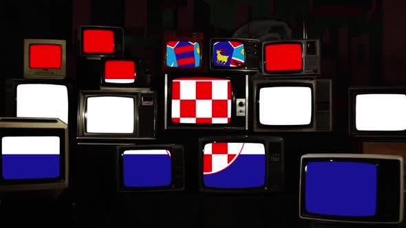 Croatian Flag on Retro TV Screens.