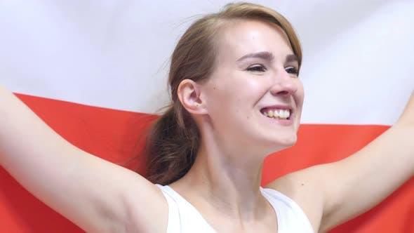 Thumbnail for Polish Young Woman Celebrates Holding the Flag of Poland
