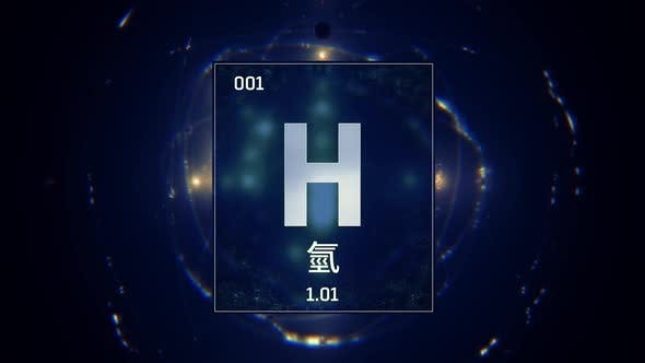Hydrogen as Element 1 of the Periodic Table on Blue Background in Chinese Language