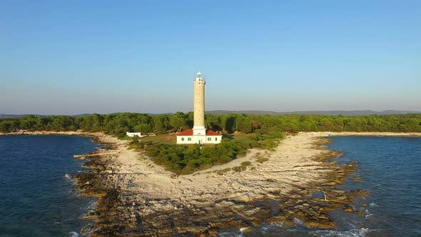 Thumbnail for Aerial view of a lighthouse, Croatia with landscape in the background