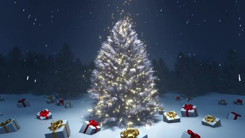 Christmas Tree and Gift Boxes 4K