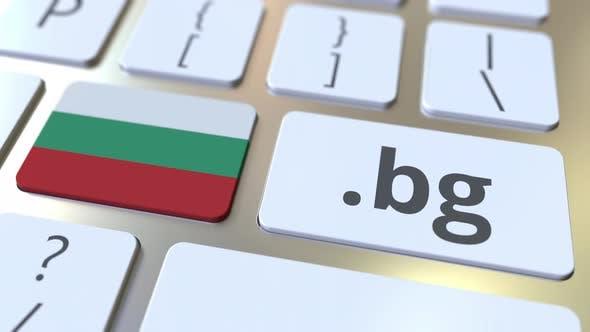 Bulgarian Domain .Bg and Flag of Bulgaria on the Keyboard