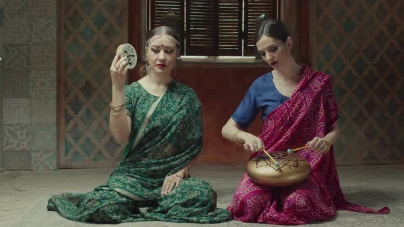 Women Playing Ethnic Indian Musical Instruments