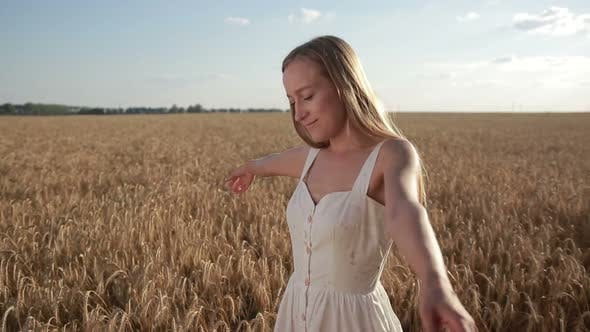 Thumbnail for Blissful Beautiful Woman Walking in Cereal Field