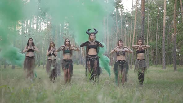 Thumbnail for Group of Women Dancers with Make-up and in Mystical Fabulous Dancing