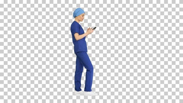 Thinking female doctor using her smartphone, Alpha Channel