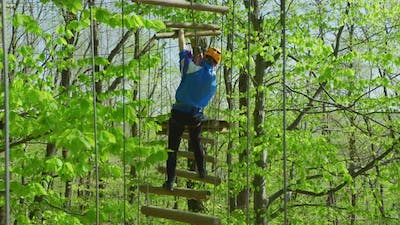 Difficult course in an adventure park