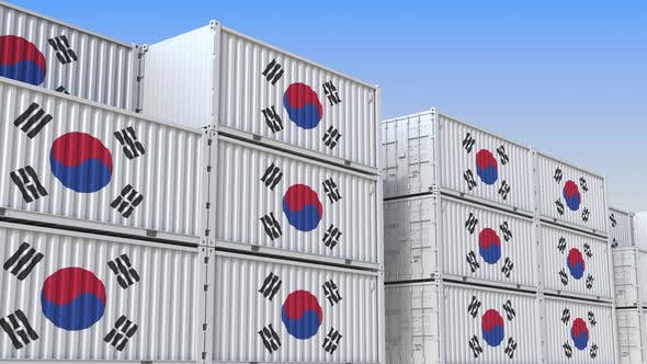 Thumbnail for Many Containers with Flag of South Korea