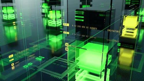 Glaswände, lichtemittierende Würfel und animierte digitale Elemente