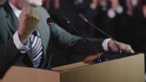 Closeup of Gesturing Politician