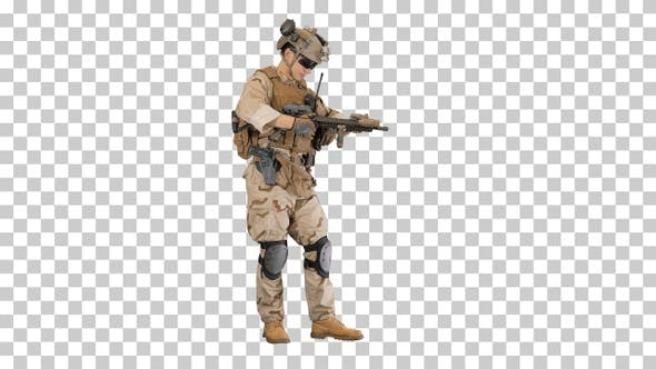 Thumbnail for Soldier in camouflage gear checking his, Alpha Channel