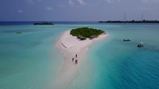 Thumbnail for Daytime above clean view of a white sandy paradise beach and blue ocean background in colorful 4K