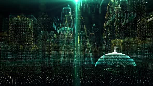 Thumbnail for Futuristic Holographic Digital Matrix Cyber City 01