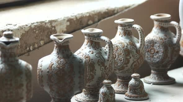 Beautifully Decorated Handmade Clay Jars