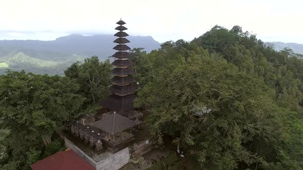Aerial view of multi-storied pagoda on a elevation terrain, Bali, Indonesia.