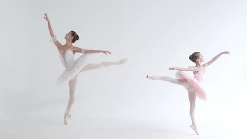 Young Female and Little Girl in a White Tutu Dance Ballet and Perform Choreographic Elements on a