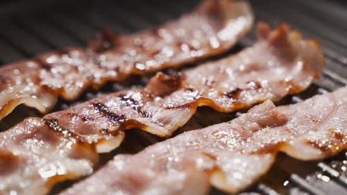 Bacon on the Frying Pan, Bacon Is Frying, Cooking the Meat, English Breakfast