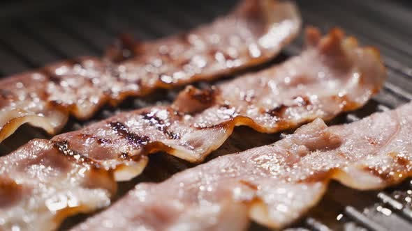 Thumbnail for Bacon on the Frying Pan, Bacon Is Frying, Cooking the Meat, English Breakfast
