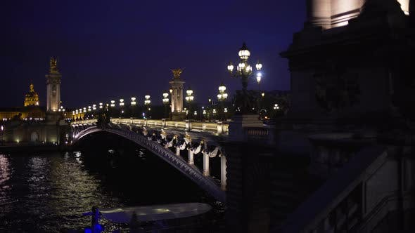 Light posts and sculptures on famous French bridge at night in Paris France