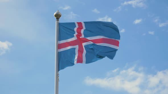 Waving Flag of Iceland