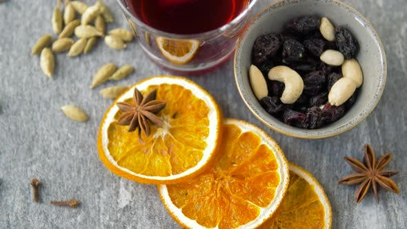 Thumbnail for Hot Mulled Wine, Orange Slices, Raisins and Spices 6