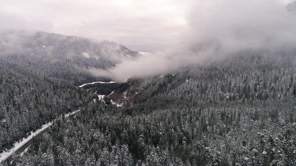 Washington Highway 2 Mountain Forest Snowy Helicopter View