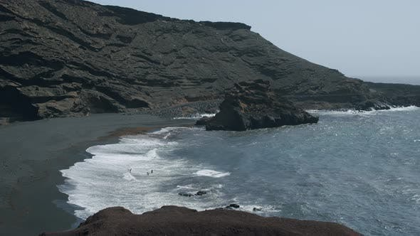 A rocky bay surf in Canarias