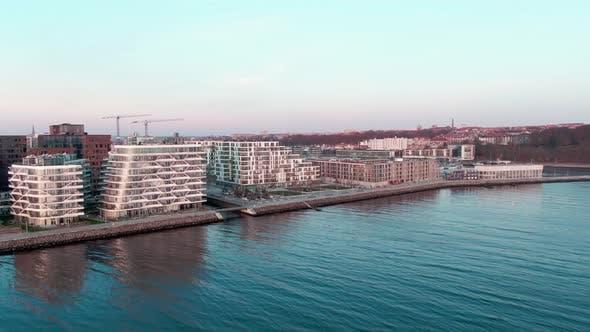 Vast Ocean Waters Surrounding the Industrialized City of Aarhus