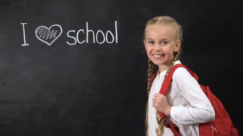 I Love School Written on Blackboard, Cute Girl Standing Near, Primary Education