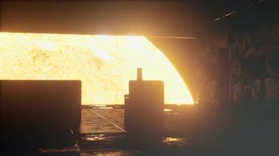 Interior of Spaceship Near Big Solar Star