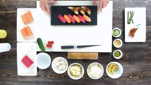 Cooking Table Top View Sushi