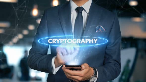 Thumbnail for Businessman Smartphone Hologram Word   Cryptography