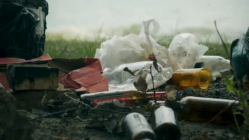 Pile of Waste Plastic and Glass Left After Picnic Massive Consumption Problems