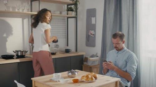 Couple Quarrelling At Home