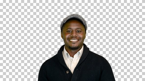Casual African American man in a hat smiling, Alpha Channel