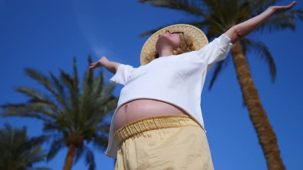 Thumbnail for Pregnant Woman With Arms Outstretched Against Blue Sky On Holidays
