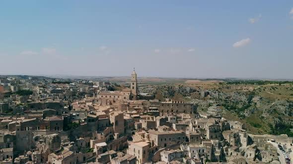 Thumbnail for Aerial View of Ancient Town of Matera Sassi Di Matera in Sunny Day, Basilicata, Southern Italy
