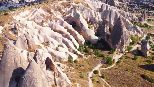 White Mountains in Cappadocia Turkey Birds Eye View  Aerial Drone