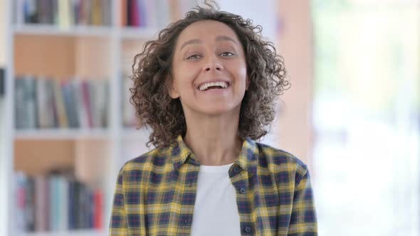 Portrait of Online Video Call By Mixed Race Woman