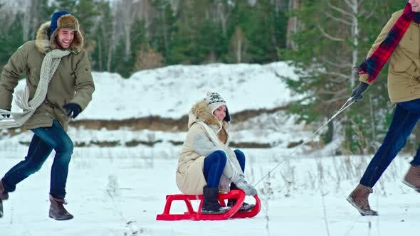 Cover Image for Young Couples Snow Sledding in Forest