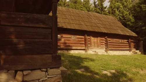 Old Rustic Countryside Cabins with Walls Made of Wooden Planks
