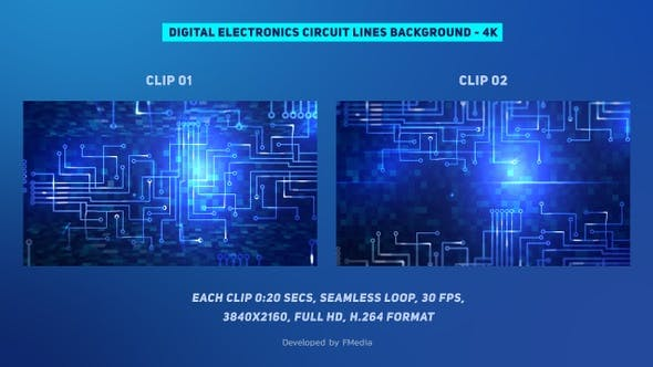 Thumbnail for Digital Electronics Circuit Lines - 2 Clips - 4k