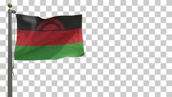 Thumbnail for Malawi Flag on Flagpole with Alpha Channel