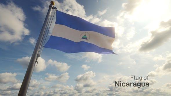 Nicaragua Flag on a Flagpole