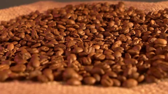 Thumbnail for Coffee Beans on Burlap Sacking Background, Rotation, Cam Moves To the Left