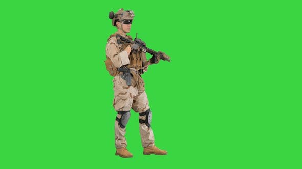 Thumbnail for Soldier Standing and Listening Orders on a Green Screen, Chroma Key.