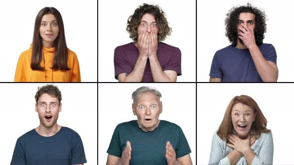 Slowmo Multiscreen Collage of Amazed People Reacting to Surprise