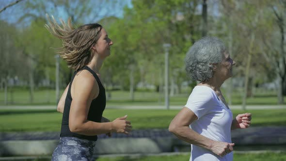 Thumbnail for Young and Middle-aged Women Jogging in Park, One After Another