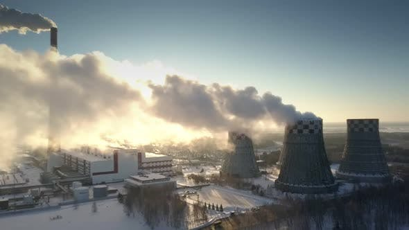 Thumbnail for Aerial View Electric Power Station Works in Frosty Morning