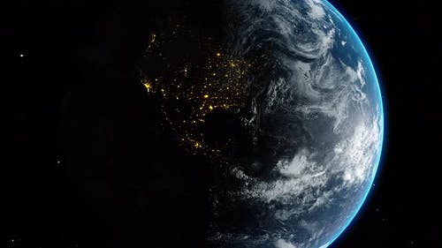 Planet Earth Globe View From Space Time Change from Night to Day Lights